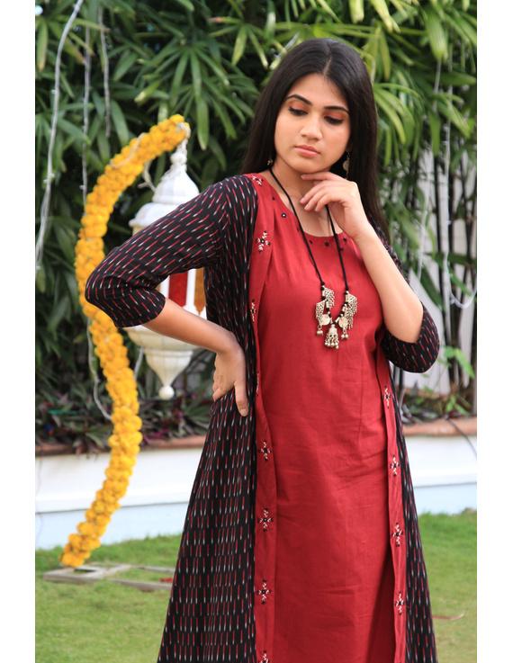 Red mangalagiri cotton straight dress with an ikat long jacket: LD 600A-XXL-1