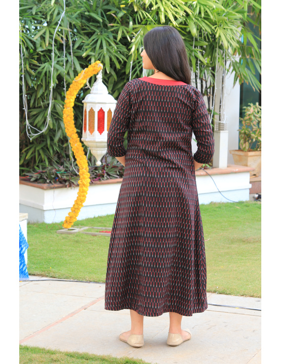 Red mangalagiri cotton straight dress with an ikat long jacket: LD 600A-L-2
