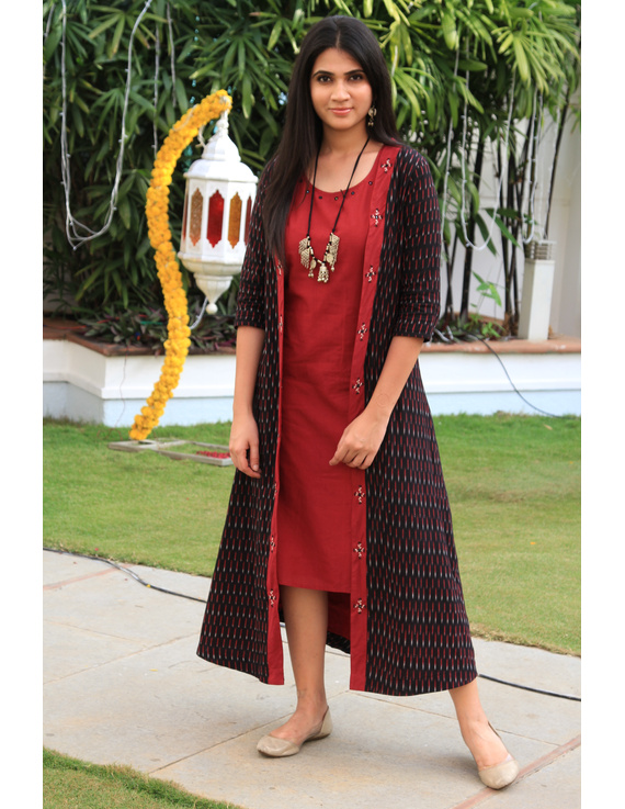 Red mangalagiri cotton straight dress with an ikat long jacket: LD 600A-LD600A-L