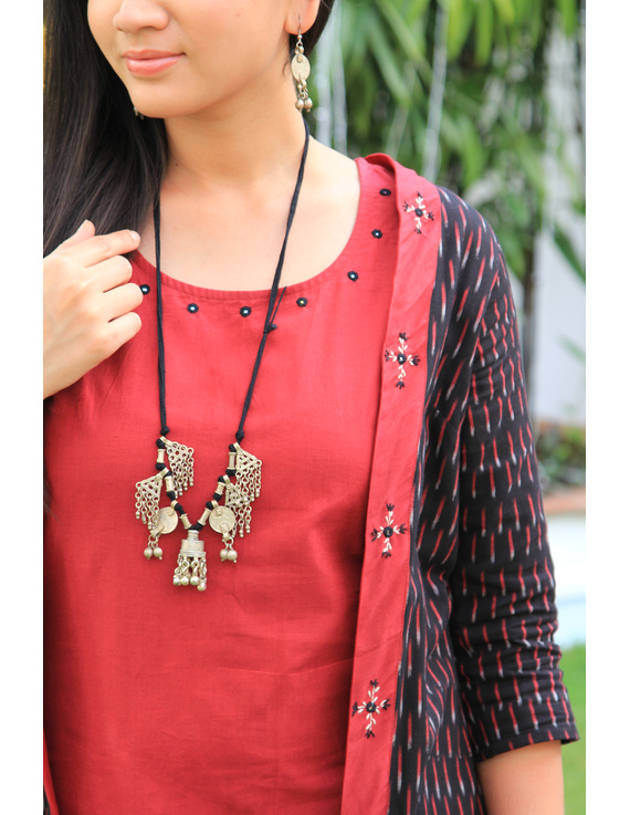 Red mangalagiri cotton straight dress with an ikat long jacket: LD 600A-L-3