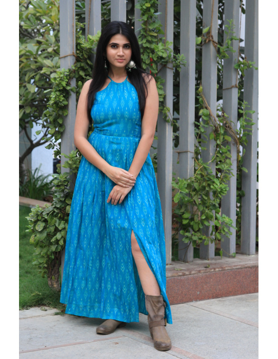 Turquoise semi silk ikat halter neck long dress with a front slit: LD610-L-3