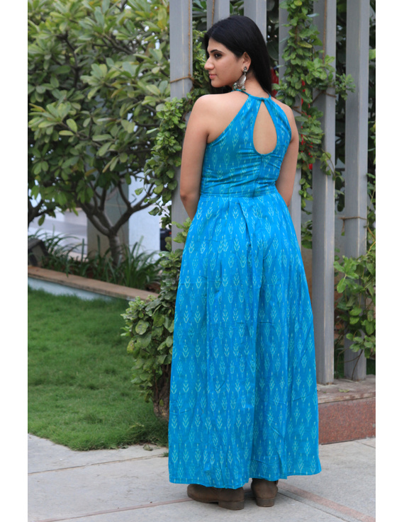 Turquoise semi silk ikat halter neck long dress with a front slit: LD610-L-2