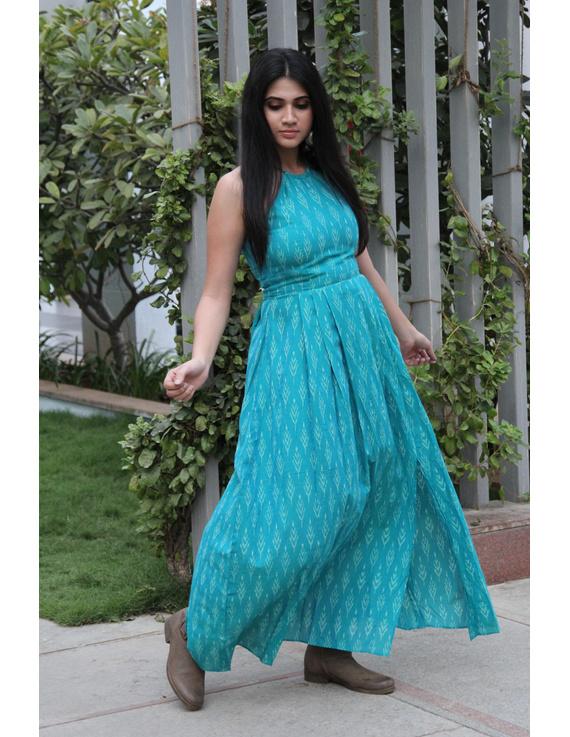 Turquoise semi silk ikat halter neck long dress with a front slit: LD610-LD610-L