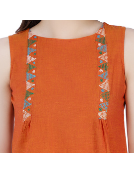 ORANGE MANGALAGIRI TOP WITH MULTICOLOURED EMBROIDERY : LB130A-XL-2-sm