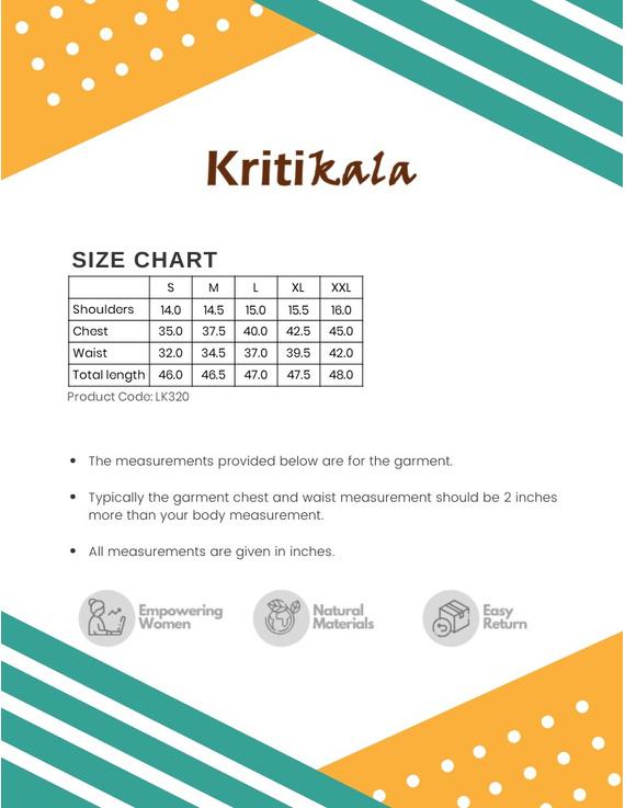 WHITE AND BLUE MIDI KURTA IN IKAT COTTON : LK320A-L-3