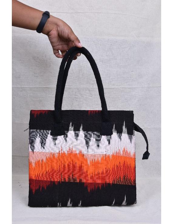 BLACK IKAT AND JUTE BOX BAG: TBJ01-1