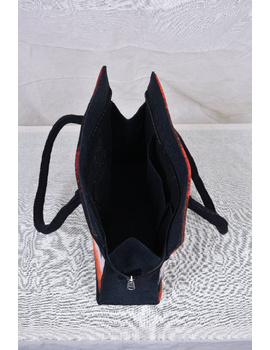 BLACK IKAT AND JUTE BOX BAG: TBJ01-2-sm