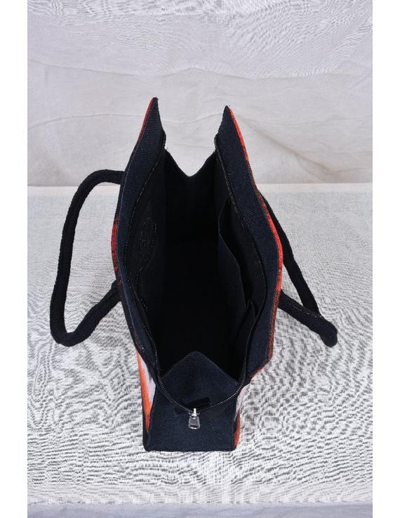 BLACK IKAT AND JUTE BOX BAG: TBJ01-2