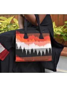BLACK IKAT AND JUTE BOX BAG: TBJ01-3-sm