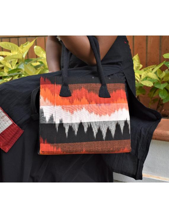 BLACK IKAT AND JUTE BOX BAG: TBJ01-3