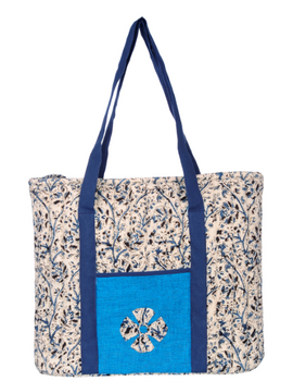 BLUE KALAMKARI SHOULDER CUM LAPTOP BAG: LBK01-Blue-1-sm