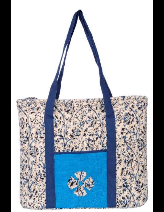 BLUE KALAMKARI SHOULDER CUM LAPTOP BAG: LBK01-Blue-1