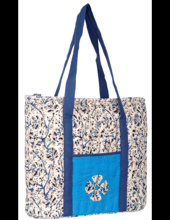 BLUE KALAMKARI SHOULDER CUM LAPTOP BAG: LBK01-Blue-2