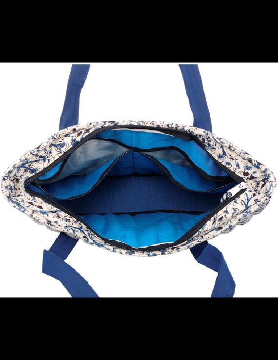 BLUE KALAMKARI SHOULDER CUM LAPTOP BAG: LBK01-Blue-3