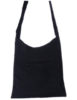 BLACK KALAMKARI SLING BAG WITH APPLIQUE PATTI: SBG01-2-sm