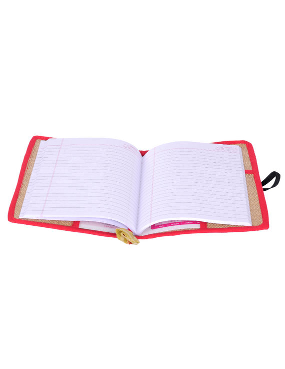 Reusable diary sleeve with diary - red : STJ01-Ruled-2