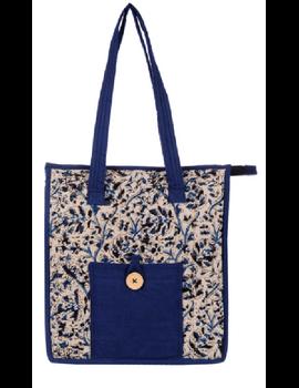 BLUE FLOWER KALAMKARI TOTE BAG - SMALL : TBKS01-Blue-1-sm