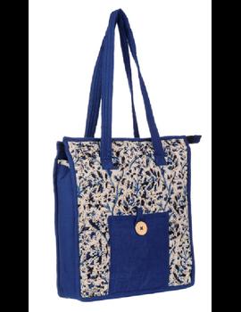 BLUE FLOWER KALAMKARI TOTE BAG - SMALL : TBKS01-Blue-2-sm