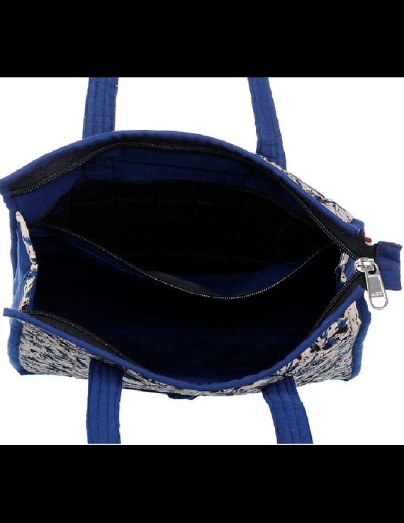 BLUE FLOWER KALAMKARI TOTE BAG - SMALL : TBKS01-Blue-3