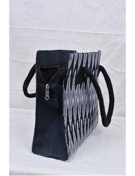 BLACK & GREY IKAT JUTE BOX BAG: TBJ02-2-sm