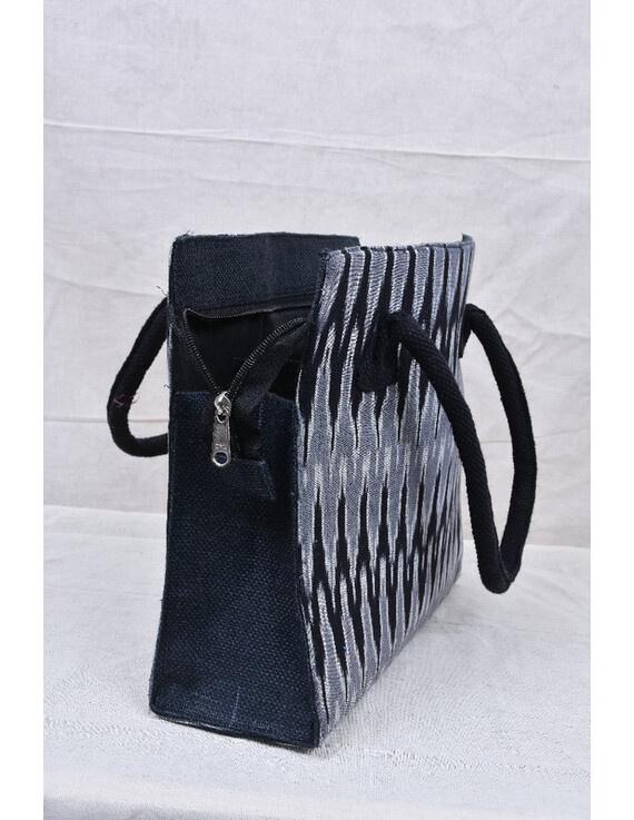 BLACK & GREY IKAT JUTE BOX BAG: TBJ02-2