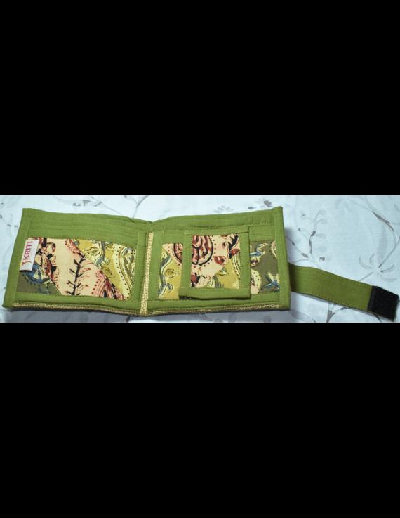 GREEN KALAMKARI UNISEX WALLET- MANGO DESIGN: WLU02-7