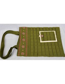 MUSTARD GREEN SILK QUILTED TOTE CUM LAPTOP BAG WITH HAND EMBROIDERY: TBA02-6-sm
