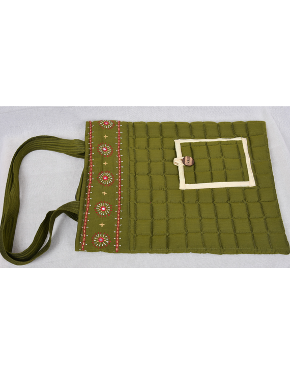 MUSTARD GREEN SILK QUILTED TOTE CUM LAPTOP BAG WITH HAND EMBROIDERY: TBA02-6