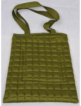 MUSTARD GREEN SILK QUILTED TOTE CUM LAPTOP BAG WITH HAND EMBROIDERY: TBA02-8-sm