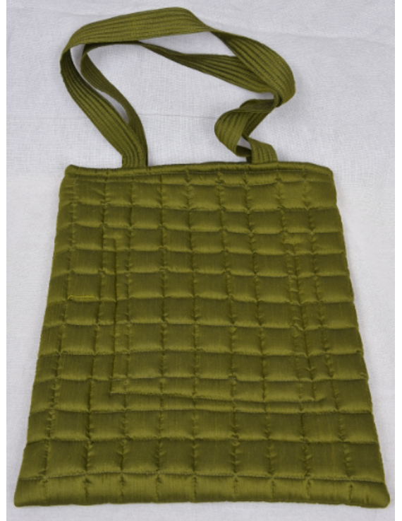 MUSTARD GREEN SILK QUILTED TOTE CUM LAPTOP BAG WITH HAND EMBROIDERY: TBA02-8