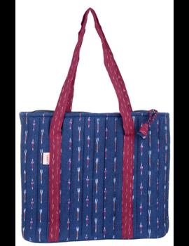NAVY BLUE IKAT SHOULDER CUM LAPTOP BAG: LBK02-2-sm
