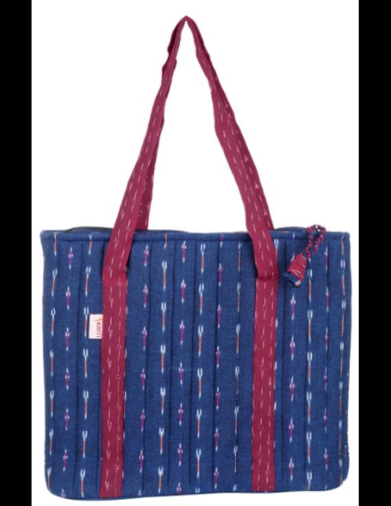 NAVY BLUE IKAT SHOULDER CUM LAPTOP BAG: LBK02-2