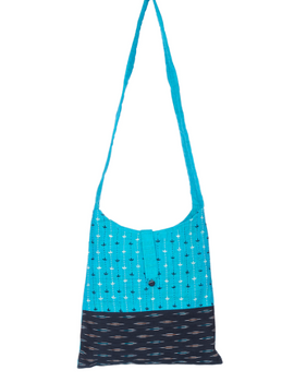 CYAN BLUE IKAT SLING BAG WITH EMBROIDERY: SBG02-1-sm