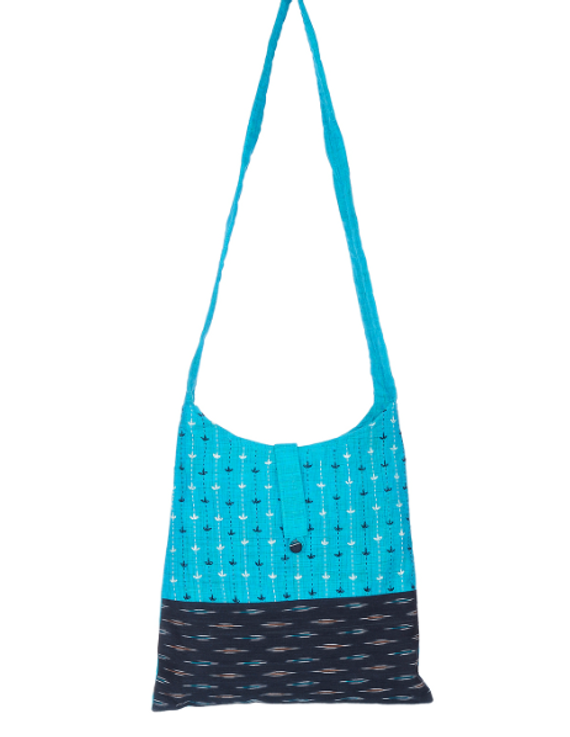 CYAN BLUE IKAT SLING BAG WITH EMBROIDERY: SBG02-1