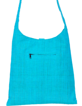 CYAN BLUE IKAT SLING BAG WITH EMBROIDERY: SBG02-2-sm