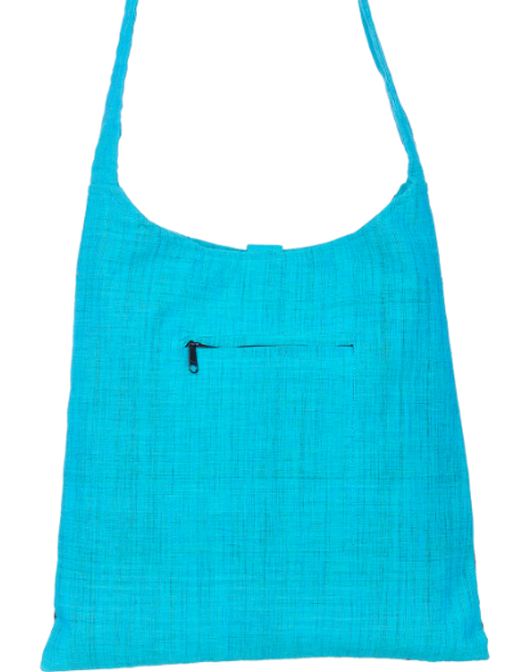 CYAN BLUE IKAT SLING BAG WITH EMBROIDERY: SBG02-2