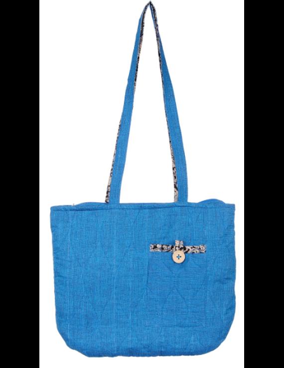 Cyan blue quilted flat bag : TBI02-TBI02