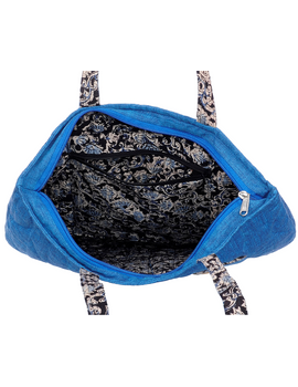 Cyan blue quilted flat bag : TBI02-1-sm