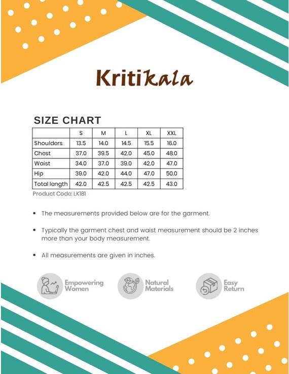 Peach kurta in handloom cotton with lambani embroidered yoke: LK181B-S-4
