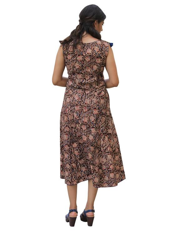 BROWN FLORAL KALAMKARI LONG DRESS WITH A BOAT NECK: LD480B-S-2