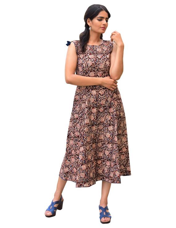 BROWN FLORAL KALAMKARI LONG DRESS WITH A BOAT NECK: LD480B-LD480B-S