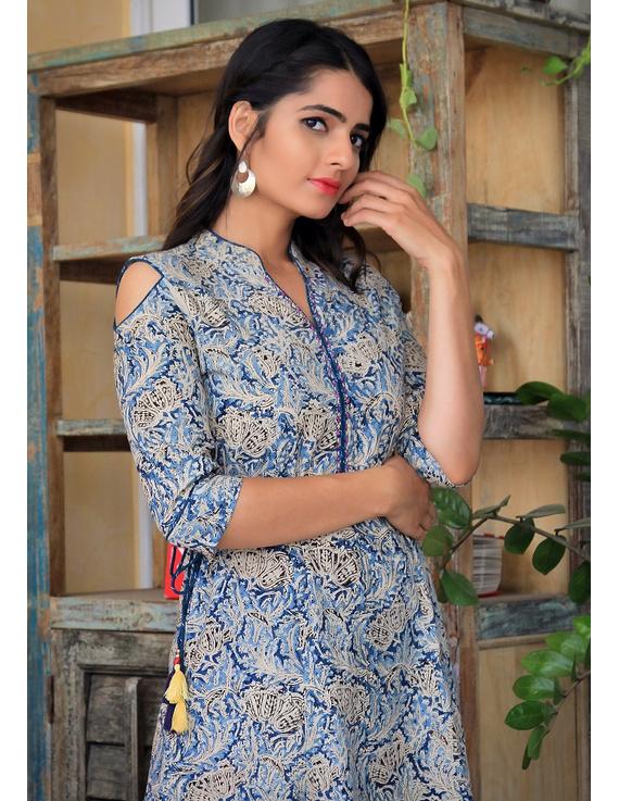 Blue Kalamkari cold shoulder dress with drawstring waist- LD360B-LD360B-S