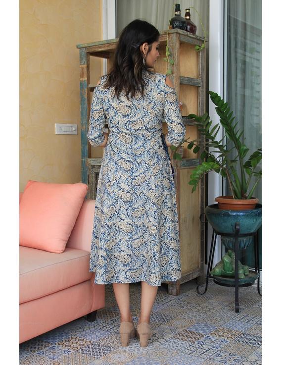 Blue Kalamkari cold shoulder dress with drawstring waist- LD360B-S-1
