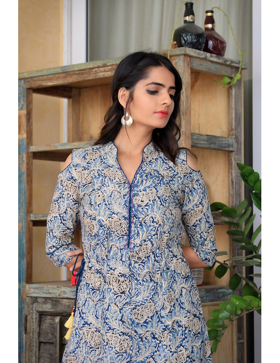 Blue Kalamkari cold shoulder dress with drawstring waist- LD360B-S-2