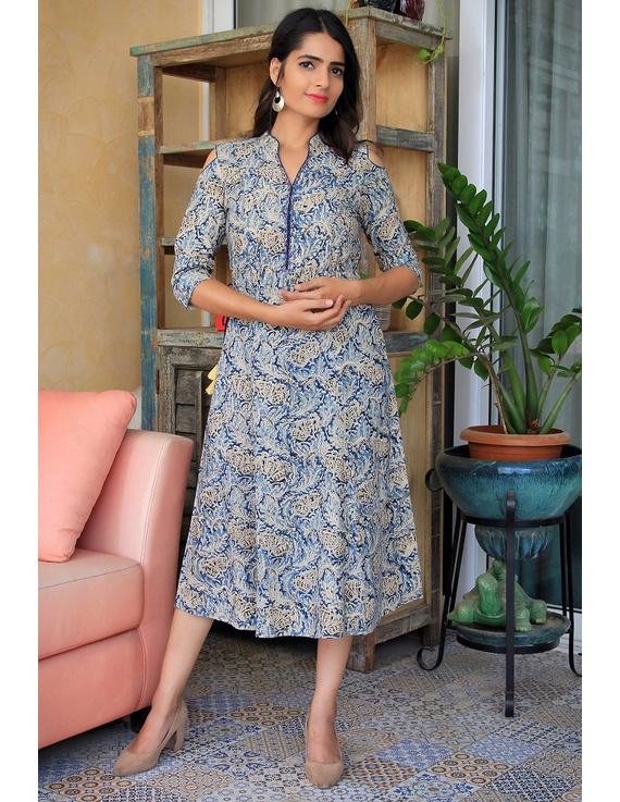 Blue Kalamkari cold shoulder dress with drawstring waist- LD360B-S-3