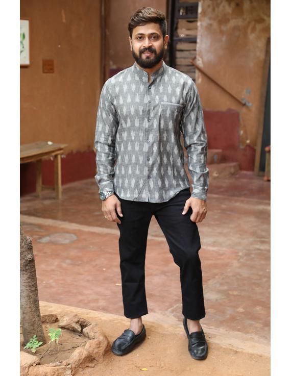 Dark Grey Mandarin Collar Full Sleeve Shirt : GT410B-GT410B-M
