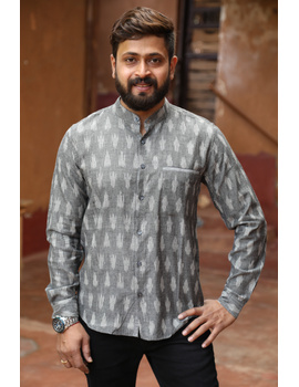 Dark Grey Mandarin Collar Full Sleeve Shirt : GT410B-XXL-Grey-1-sm