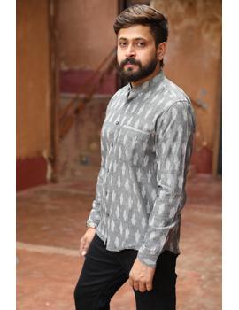 Dark Grey Mandarin Collar Full Sleeve Shirt : GT410B-XXL-Grey-2-sm