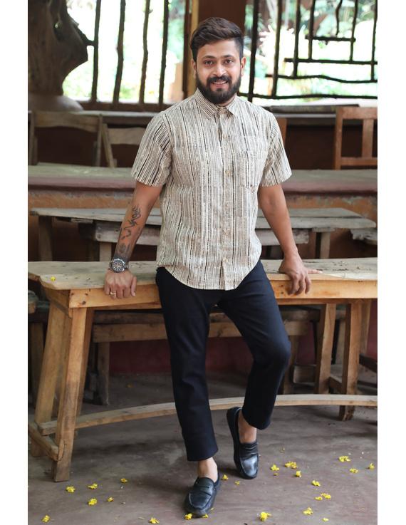 Beige Casual Shirt With Kalamkari Stripes : GT420F-GT420F-XL