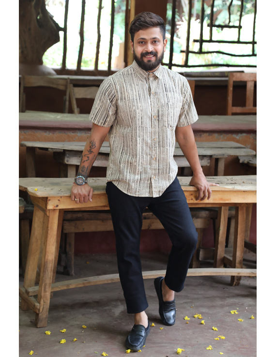 Beige Casual Shirt With Kalamkari Stripes : GT420F-GT420F-XXL